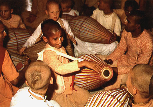 Children chanting Hare Krishna