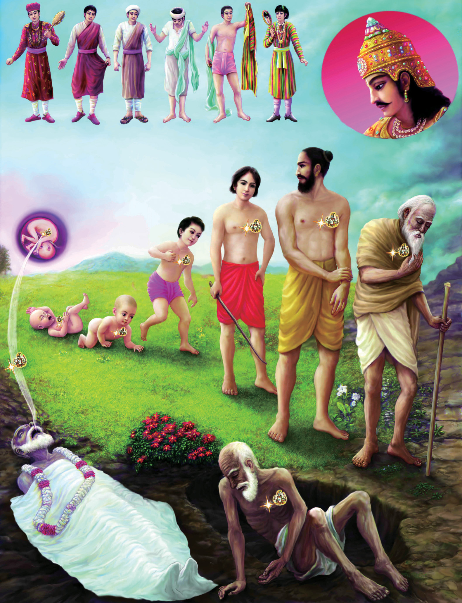 Bhagavad Gita Art Gallery--Plate 8: The soul changes bodies