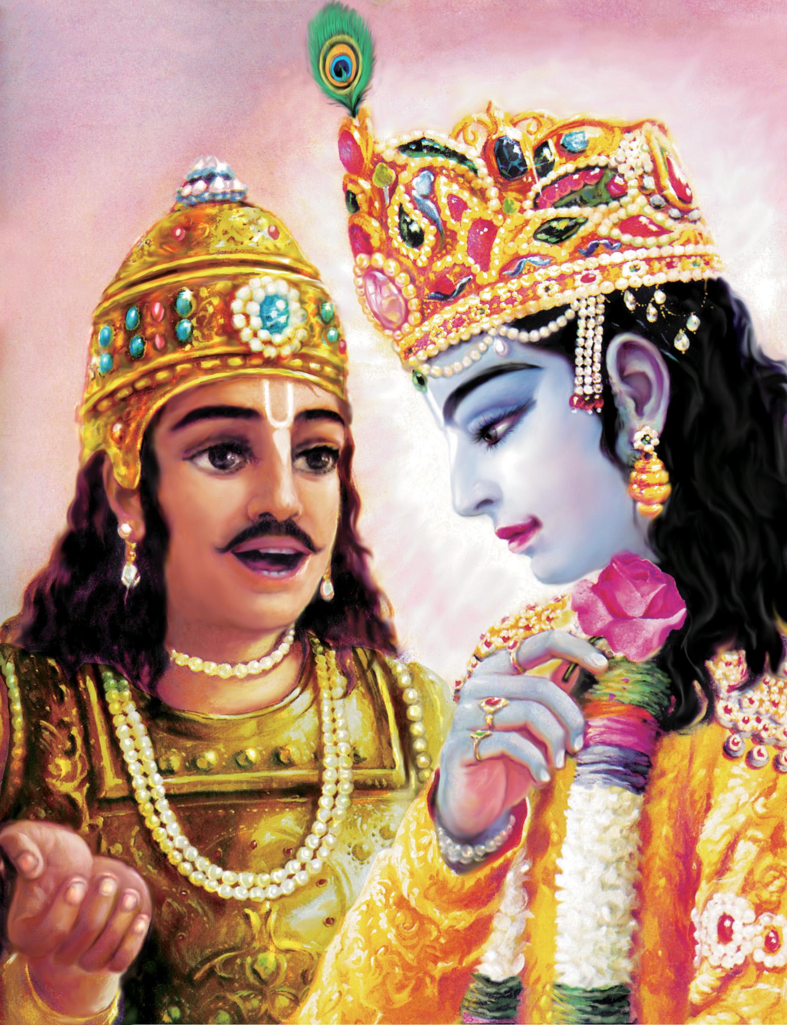 Bhagavad Gita Art Gallery--Plate 29: Arjuna addressed